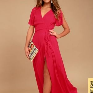 Much Obliged Red Wrap Maxi Dress
